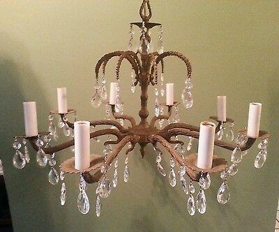 Vintage Brass Chandelier 8 Arm with Prisms Gold Hanging Light