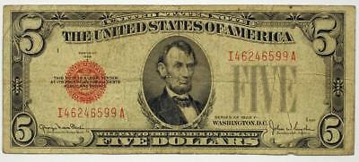 1928 F $5 Legal Tender Note Paper Money Banknote