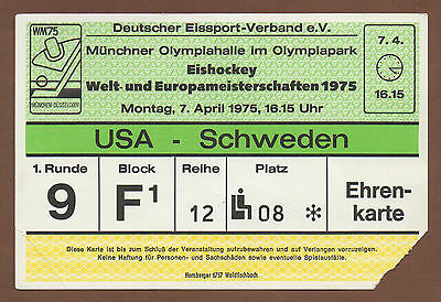 Orig.Ticket   Icehockey World Championship`s Germany 1975  SWEDEN - USA !!  RARE
