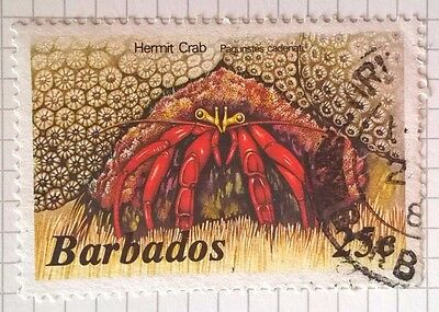 Barbados stamp - Hermit Crab - 25c face value - FREE P & P