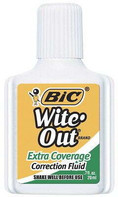 BIC Wite-Out Extra Coverage Correction Fluid with Foam Applicator, 0.65 fl-oz...