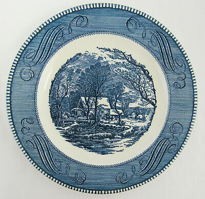 """Vintage Royal China Currier And Ives 6- 10"""" The Old Grist Mill Dinner Plate"""