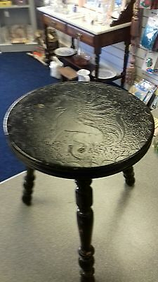 welsh milking stool with bobin turned legs . edwardian ebonised antique stool