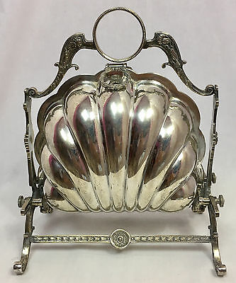 Antique Victorian Silverplate Folding Biscuit Box, Scalloped Shell