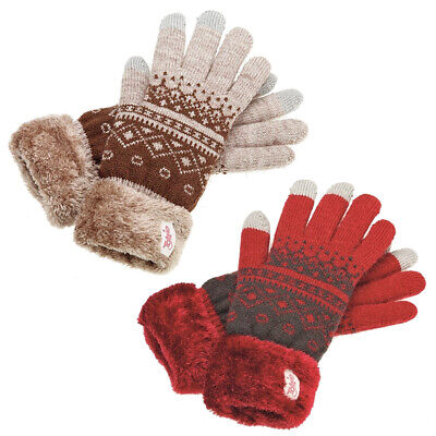 Ladies Tottie Snowdon Thermal Fleecy Lined Warm Knitted Gloves Winter Riding