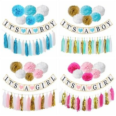 Baby Shower Banners Bunting Boy Girl 1st Birthday Party Hanging Tassel Decor