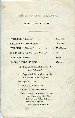 1841 BEETHOVEN Buckingham Palace Concert Program from George SMART (Conductor)