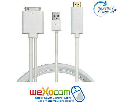 1080p NEW HDTV TV Video Out HDMI Cable iPhone 4 4S iPad 2 3 ~iOS 9.3.5