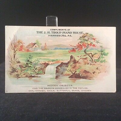 JH Troup Piano House PA Victorian Trade Card 1880s Harrisburg PA Hidden Objects