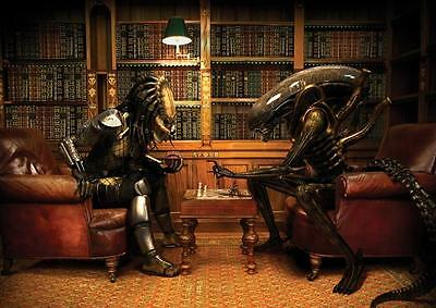 ALIENS V PREDATOR PLAYING CHESS POSTER Wall Art Photo Print Poster A4 A3