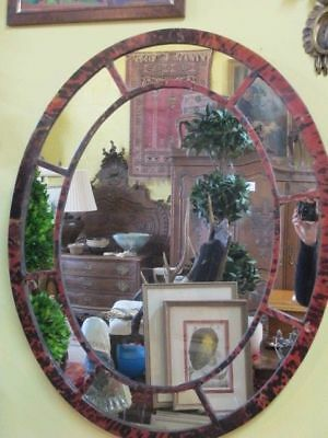 British 2pc GEORGIAN Era Antique Faux TORTOISE Shell Large Oval Wall Mirrors