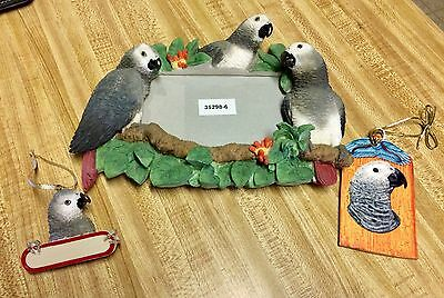 Lot of Brand New African Grey Parrot Decor Lrg. Photo Frame & 2 Unique Ornaments