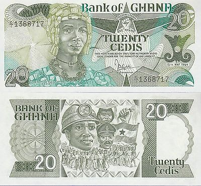 "Ghana 20 Cedis Banknote 15.5.1984 Choice Uncirculated,Cat#24-A,""Queen Mother"""