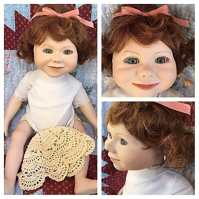 """Handmade ? Porcelain Doll - mold # or year 89 Bisque Head Cloth body 18"""""""