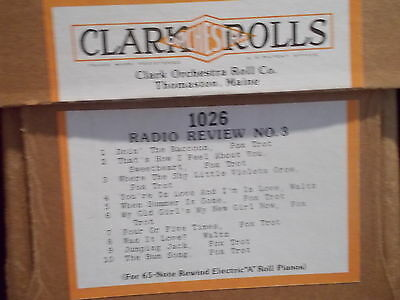 CLARK Nickelodeon Music Roll #1026 - RADIO REVIEW NO. 3  - #139