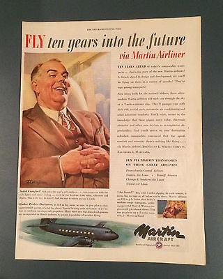 Vintage Martin Aircraft Ad, SEP 1946, Aviation, Airplanes, Airliners