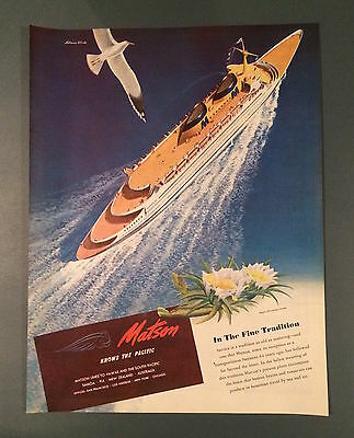 Vintage Matson Lines Ad, SEP 1946, Cruise Ships, The Pacific