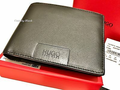 Hugo Boss Wallet 'entika 50247087' Trifold Black Smooth Leather Coin Pocket