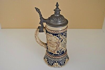 Very Old Beautifully Decorated and Finished German Lidded Ceramic Beer Stein