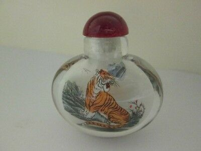 Tiger Pattern Glass Snuff Bottle in Box