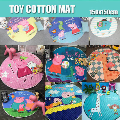 Portable Baby Kids Gym Play Mat Crawling Blanket Soft Cotton Toys Storage Bag AU