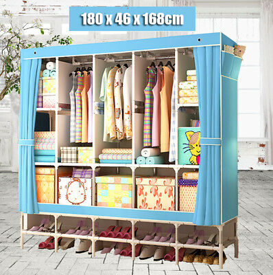 DIY Folding Wardrobe Double Fabric Closet Clothes Rack Shelves Storage Organizer