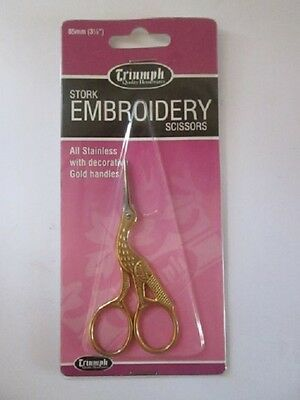 Gold Stork Embroiderry Craft Scissors