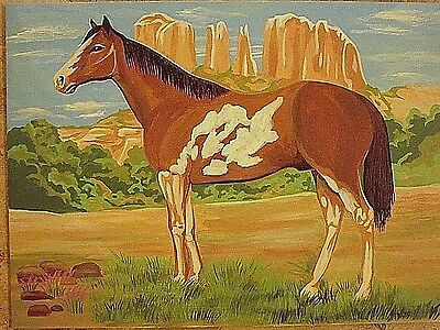 Vintage Horse Painting, Paint by Numbers Art, Size 16 in. x 12 in. Unframed