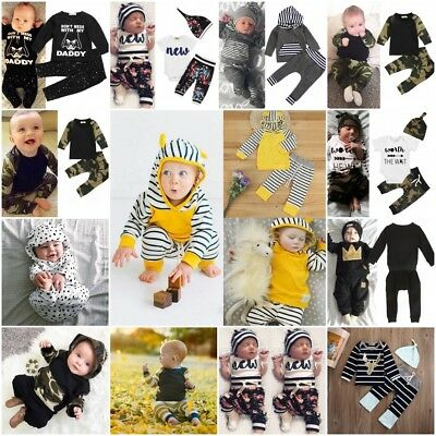 UK Newborn Baby Kids Boy Girls Clothes Hooded Tops+Long Pants Outfits Set 0-24M