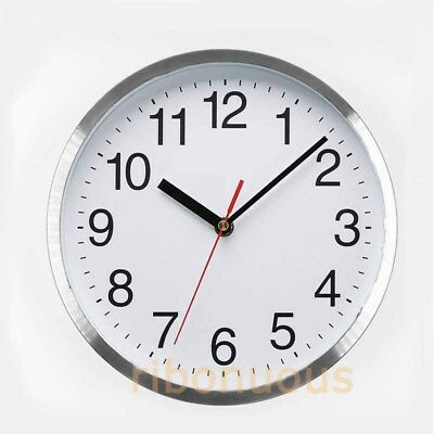 Premium Modern Round Aluminium Wall Clock NO Ticks Silent Kitchen School Office