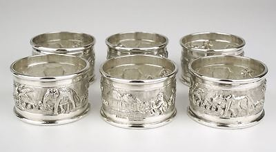 Kutch Sterling silver napkin ring rings set 1900 India