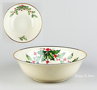 """9-3/8"""" Party Serving Bowl, Lenox Holiday (Dimension), SUPERB! Holly, 24k Gold"""