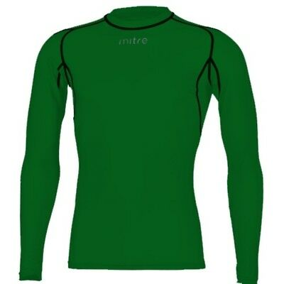 Mitre Mens Long Sleeve Compression Top- Green- Soccer