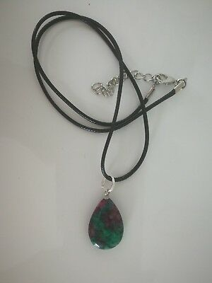 Code 601 Ruby In Zoisite Angel Teardrops on a black cord necklace