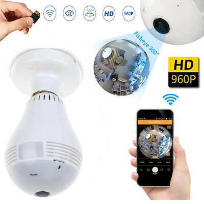 360° Panoramic 960P Hidden Mini Security IP Wireless WIFI Camera Light Bulb CA