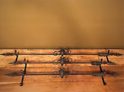 3 Antique Spanish Revival Curtain Rods Wrought Iron Arts Crafts 1920 Vtg Drapery