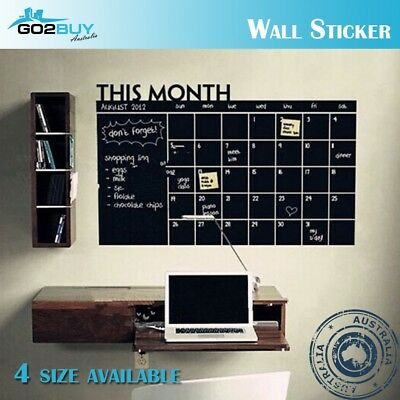 4 Size DIY Monthly Planner Chalkboard Blackboard Removable Calendar Wall Sticker