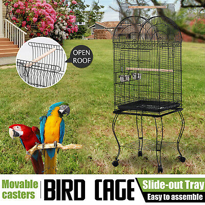 Bird Cage Parrot Aviary Pet Stand-alone Budgie Perch Castor Wheels Large 163cm