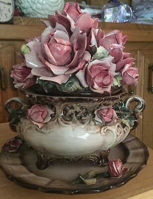 Vintage Large Capodimonte Soup Tureen On Platter ~ Centerpiece With Flowers