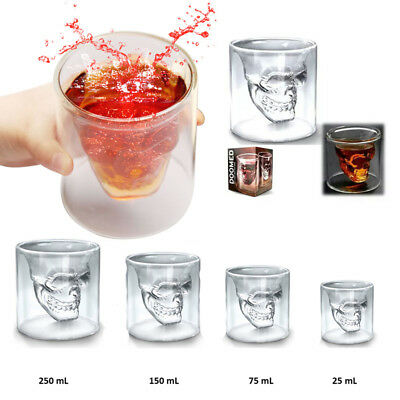 Skull Head Halloween Vodka Whiskey Bar Glass Cup Wine Beer Party Drinking Ware