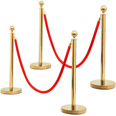 2Pcs Stainless Steel Golden Stanchion Crowd Control Posts+2M Red Polyester Rope