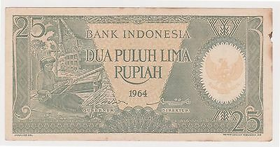 (K41-83) 1964 Indonesia 25 Rupiah bank note (AD)