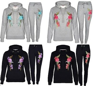 New Ladies Women's Rose Embroidered Flower Lounge Wear Tracksuit Gift 2pc S-XL