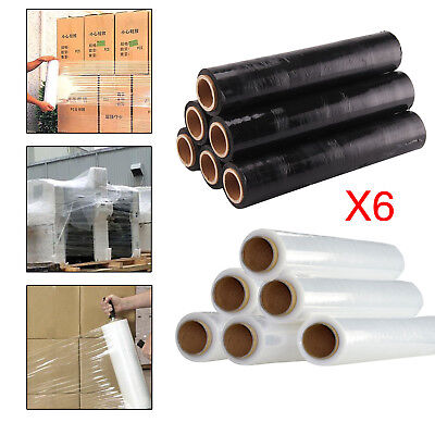 6 Strong Rolls Black/clear Pallet Stretch Shrink Wrap Parcel Packing Cling Film