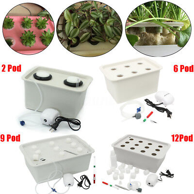 2/6/9/12 Pods Plant Site Hydroponic System Grow Bubble Indoor Garden Cabinet