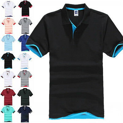 Classic Mens Summer Short Sleeve Golf Polo T-Shirt Plain Lapel Shirts Tops M-3XL