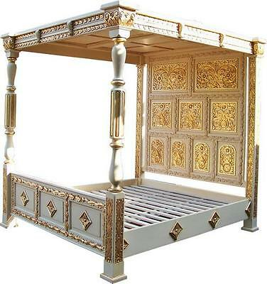 5' King Size Carved Four Poster Bed Antique White & Gold Solid Mahogany B045W&G
