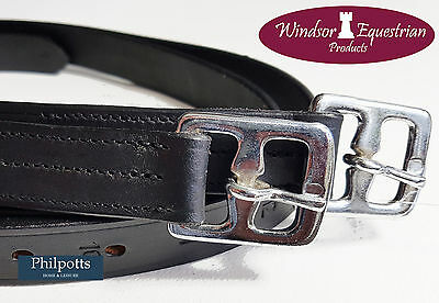 """LEATHER STIRRUP LEATHERS - BLACK / BROWN - ADULT 54"""" / CHILD 48"""" - Equestrian"""