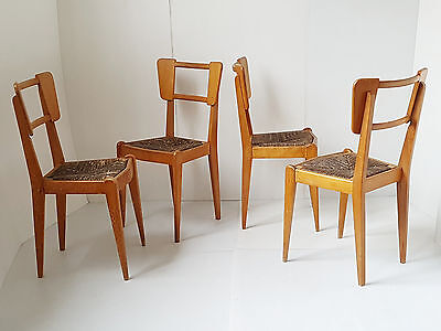 Suite 4 Chairs 1950 Out Of Oakwood & Straw 50'S Vintage Rockabilly Years 50
