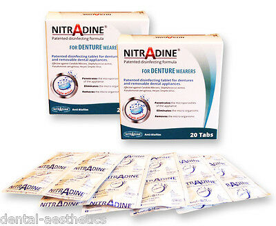 2 x Nitradine Senior Denture ~ 40 Cleaning Tablets 20wk Supply ~ 2 Boxes